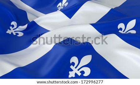 Majestic Glossy Quebec Flag - stock photo