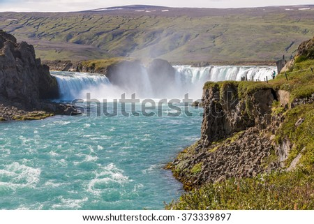 Majestic Godafoss - waterfall of the Gods - in Iceland, HDR - stock photo