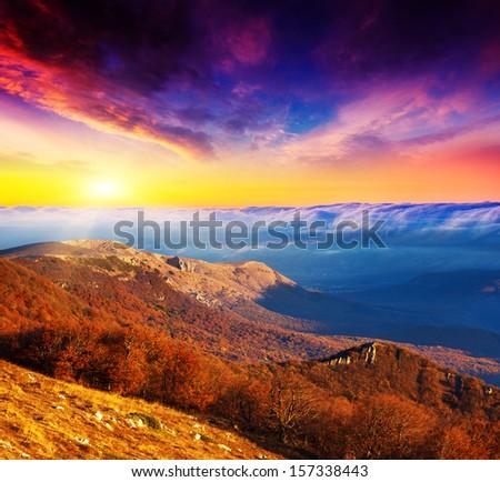 Majestic morning mountain landscape. Dramatic overcast sky. Crimea, Ukraine, Europe. Beauty world. - stock photo