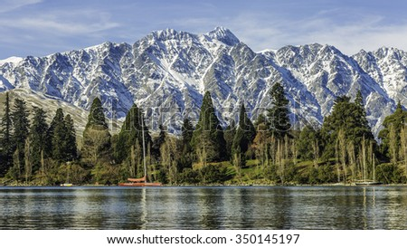 majestic mountain and Lake landscape of Queenstown, New Zealand - stock photo