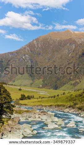 Majestic mountain and stream landscape in Wanaka, New Zealand - stock photo