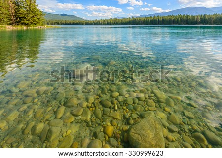 Majestic mountain lake in Canada. Anette Lake view in Jasper, Alberta, Canada. Rocky Mountains. - stock photo