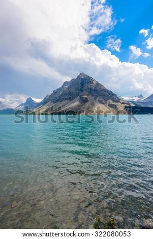 Majestic mountain lake in Canada. Bow Lake, Banff, Alberta. - stock photo