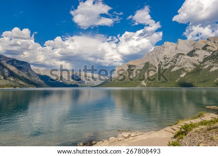 Majestic mountain lake in Canada. Two Jacks Lake in Banff, Canada. - stock photo