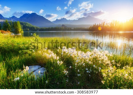 Majestic mountain lake in National Park High Tatra. Strbske pleso, Slovakia, Europe. - stock photo