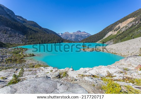 Majestic mountain lake with turquoise water in Canada  - stock photo