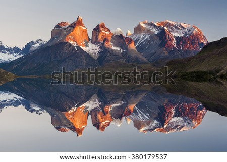 Majestic mountain landscape. Reflection of mountains in the lake. National Park Torres del Paine, Chile. - stock photo