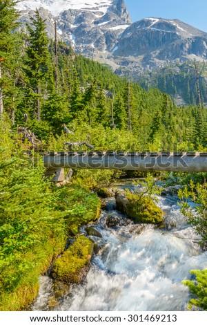 Majestic mountain river in Canada. Upper Joffre Lake Trail in British Columbia. - stock photo