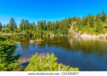 Majestic mountain wild forest lake in Canada. - stock photo