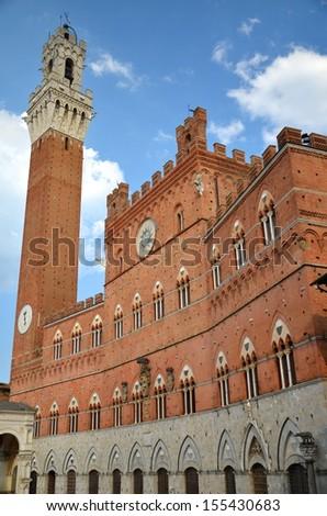 Majestic Palazzo Pubblico on Piazza del Campo in Siena, Tuscany, Italy - stock photo