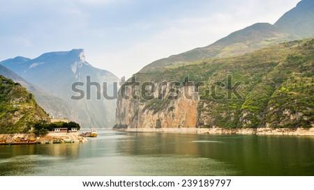 Majestic Qutang Gorge and Yangtze River - Baidicheng, Chongqing, China - stock photo