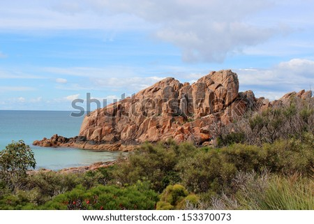 Majestic red and brown  Castle Rock near Dunsborough south western Australia  is a popular walking and hiking destination  in spring and summer. - stock photo