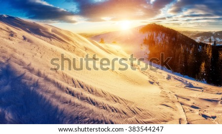 Majestic snow blocks.glowing by sunlight. Dramatic and picturesque morning wintry scene. Place location Carpathian national park, Ukraine, Europe. Beauty world. Warm toning effect. Happy New Year! - stock photo