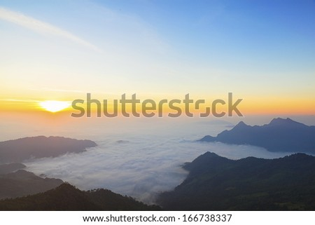 Majestic sunset in the mountains landscape - stock photo