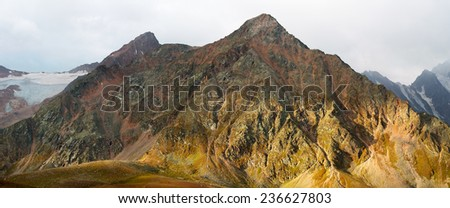 Majestic sunset in the mountains landscape. - stock photo