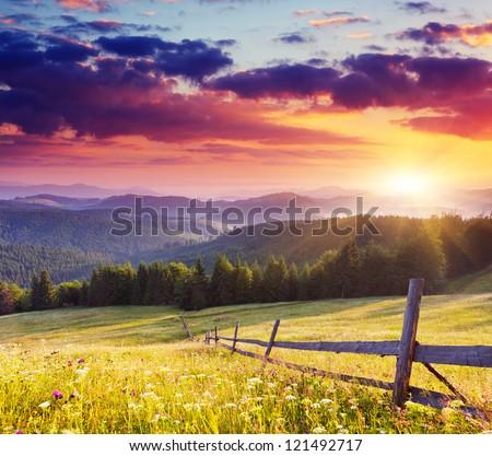 Majestic sunset in the mountains landscape.Carpathian, Ukraine. - stock photo