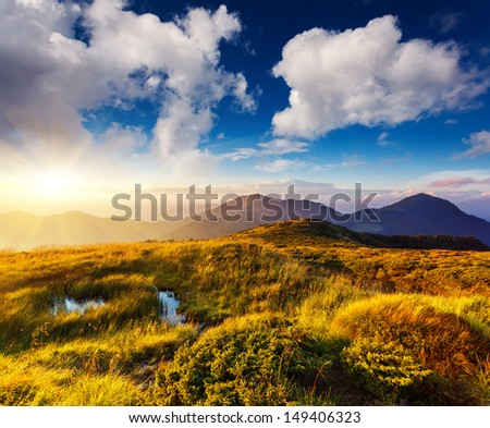 Majestic sunset in the mountains landscape. Carpathian, Ukraine, Europe. - stock photo