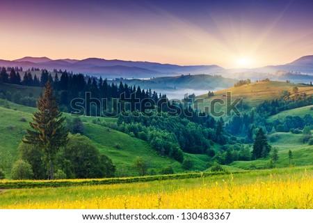 Majestic sunset in the mountains landscape. Carpathian, Ukraine, Europe. Beauty world. - stock photo