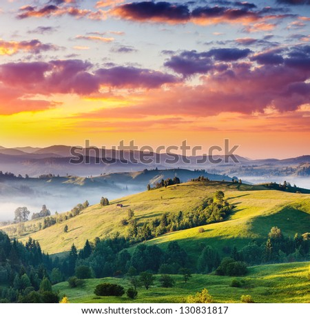 Majestic sunset in the mountains landscape. Dramatic sky. Carpathian, Ukraine, Europe. Beauty world. - stock photo
