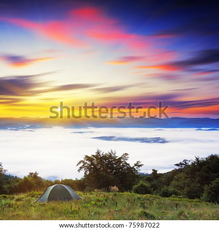 Majestic sunset in the mountains landscape. HDR image - stock photo
