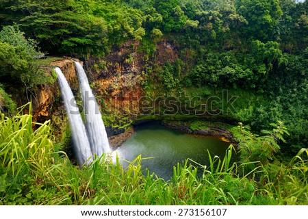 Majestic twin Wailua waterfalls on Kauai, Hawaii - stock photo