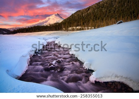 Majestic View of Mount Hood in Oregon, USA - stock photo