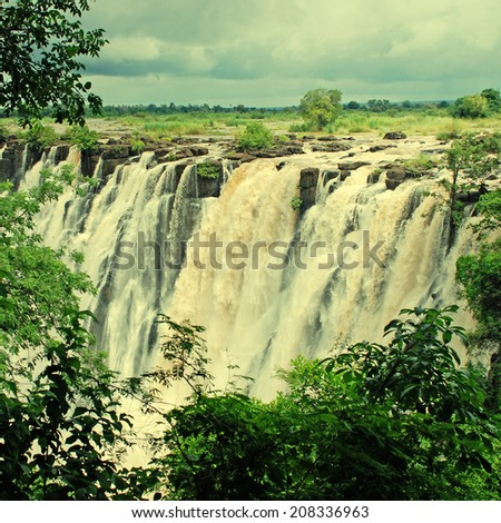 majestic view with Victoria falls, Zambia, South Africa. instagram effect, square image - stock photo
