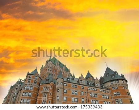 Majesty of Chateau de Frontenac - Quebec City ancient castle. - stock photo