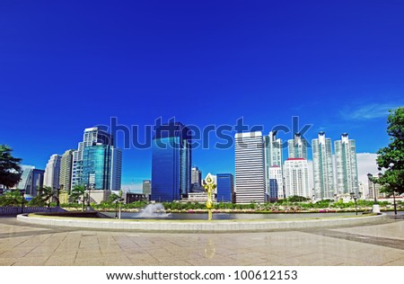 Major cities, rivers, roads and gardens buildings in Bangkok, Thailand. - stock photo