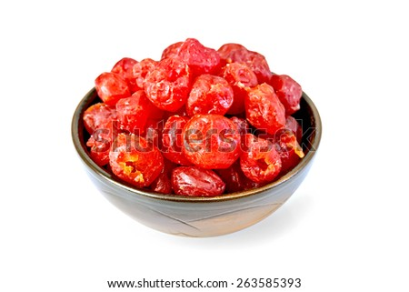 Major dried candied cherries in a bowl isolated on white background - stock photo