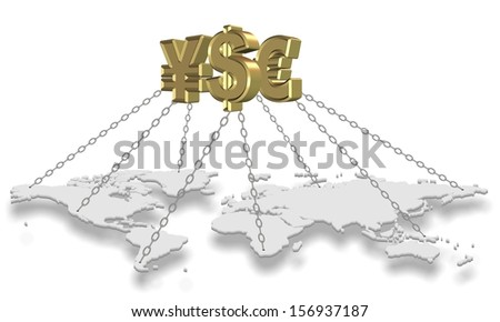 Major golden currency symbols holding world with chains / Money holding world - stock photo