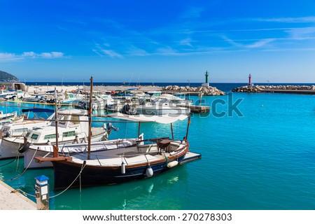 Majorca Cala Bona marina port Son Servera Mallorca in Balearic islands of spain - stock photo