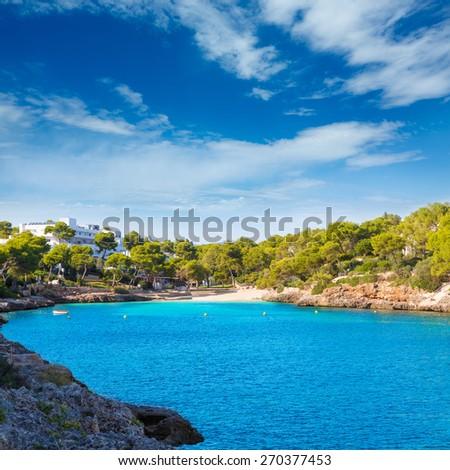 Majorca Cala Dor d Or beach in Mallorca Santanyi at Balearic Islands of Spain - stock photo