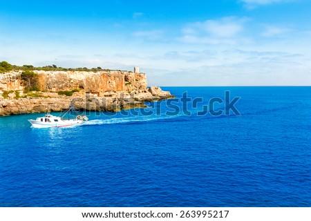 Majorca Cala Figuera in Santanyi Mallorca Balearic islands of spain - stock photo