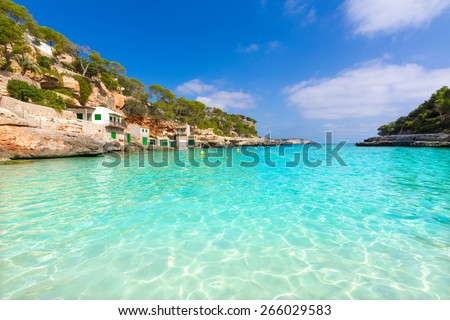 Majorca Cala Llombards Santanyi beach in Mallorca Balearic Island of Spain - stock photo