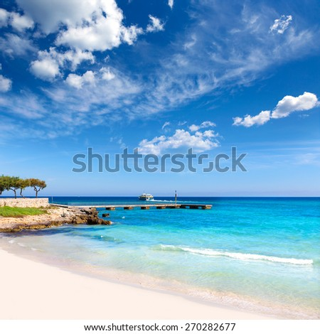 Majorca Cala Millor beach Son Servera Mallorca Balearic islands of Spain - stock photo