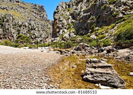 "Majorca Island (Spain) : ""Pareis Sa Calabra"" Canyon and coast - stock photo"