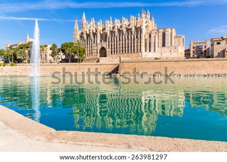 Majorca Palma Cathedral Seu Seo of Mallorca at Balearic Islands Spain - stock photo