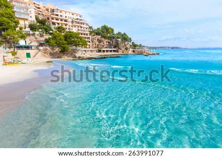 Majorca Playa de Illetas Balneario beach in Mallorca Bendinat Calvia at Balearic islands of spain - stock photo