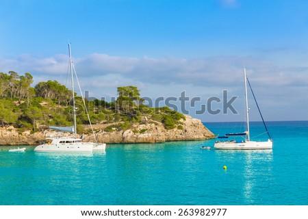 Majorca sAmarador beach Amarador in Mondrago Mondragon Natural Park of Mallorca Balearic Island - stock photo