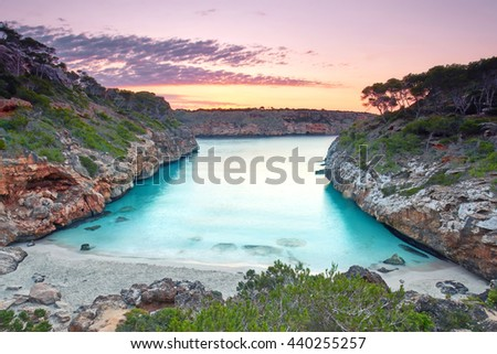 Majorca, sunrise at Calo des Moro beach, stunning view onto the bay                                            - stock photo