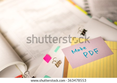 Mak PDF; Stack of Documents with Large Amount of Analytic Material. - stock photo