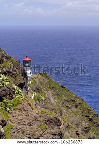 makapuu lighthouse on the eastern side of Oahu - stock photo
