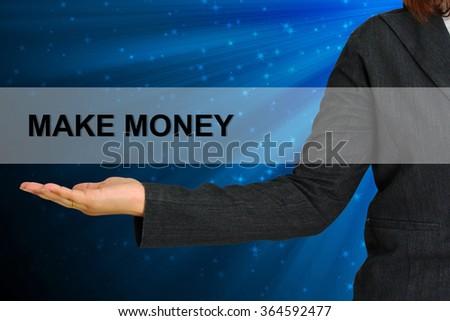 Make Money on hand business woman - stock photo