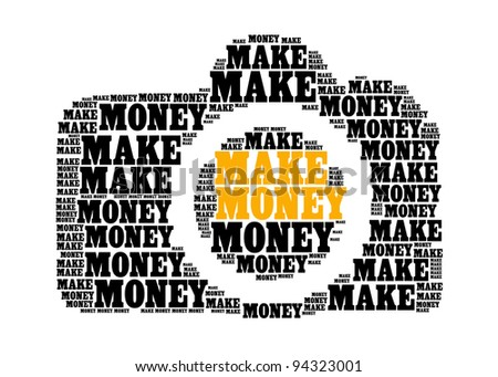 make money text on dslr camera graphic and arrangement concept - stock photo