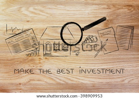 make the best investment: magnifying glass analyzing a house, with sector newspaper, stats, keys, wallet and mortgage contract - stock photo