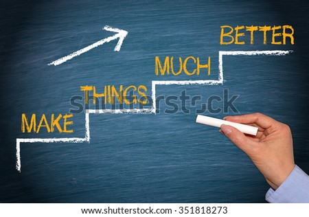 Make Things Much Better - stairs and arrow with text - performance and improvement concept - stock photo