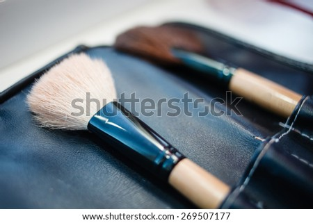 Make-up artist`s brush set in leather case. - stock photo
