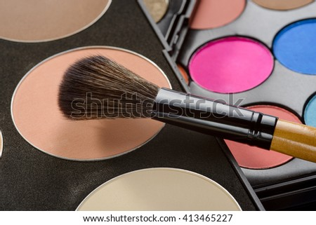 Make-up basis starts with the right foundation to elude shiny skin and to hide problematic areas. Perfect instrument for skin treatment. - stock photo