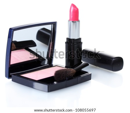 make-up blusher and pink lipstik isolated on white - stock photo